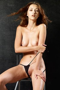 Model Anna S in Nude on a Stool