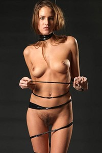 Model Silvie in Black Bondage