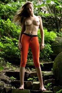 Model Gislane in Orange Tights