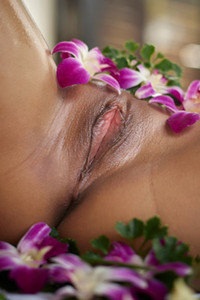 Model Pin in Flowers And Genitals